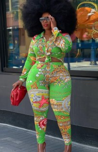 Осенний комплект блузки с длинными рукавами и брюками с принтом больших размеров
