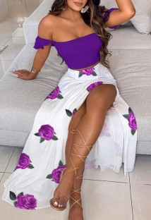 Summer Floral Purple Ruched Crop Top and Slit Long Skirt 2PC Matching Sundress Set