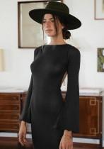 Autumn Open Back Elegant Black Long Dress with Full Sleeves