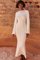 Autumn Open Back Elegant Beige Long Dress with Full Sleeves