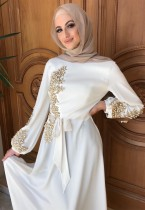 Árabe Dubai Árabe Oriente Medio Turquía Marruecos Ropa islámica Rhinestone Kaftan Abaya Vestido musulmán Blanco