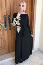 Árabe Dubai Árabe Oriente Medio Turquía Marruecos Ropa islámica Rhinestone Kaftan Abaya Vestido musulmán Negro