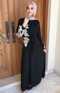 アラブドバイアラブ中東トルコモロッコイスラム服ラインストーンカフタンアバヤイスラム教徒のドレス黒