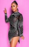 Mini vestido con flecos sexy con cuentas negras de fiesta de otoño