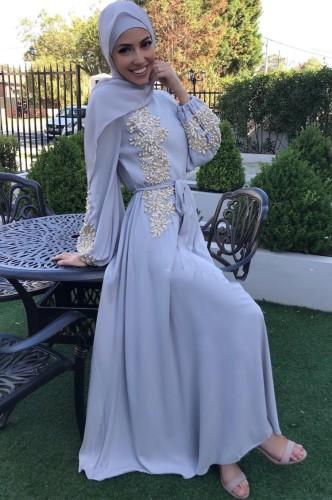 Árabe Dubai Árabe Oriente Medio Turquía Marruecos Ropa islámica Rhinestone Kaftan Abaya Vestido musulmán