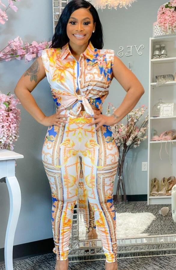 Летняя классическая блузка и брюки с принтом в стиле ретро, комплект из 2 предметов