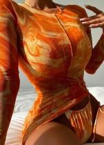 Autumn Print See Through Long Sleeve Sexy 3 Piece Mini Dress Set