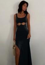 Summer Black Cut Out O-Rings Slit Sleeveless Long Dress