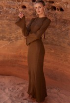 Autumn Open Back Elegant Brown Long Dress with Full Sleeves