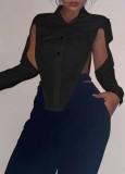 Camicetta sexy a maniche lunghe con spacco nero da festa d'autunno