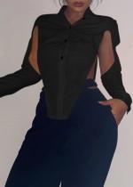 Blusa sexy de manga larga con abertura negra de fiesta de otoño