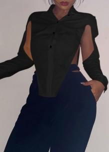 Sonbahar Partisi Siyah Yırtmaçlı Uzun Kollu Seksi Bluz