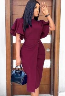 Осеннее профессиональное красное офисное платье-карандаш с рюшами и рукавами
