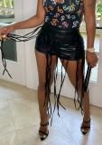Pantaloncini da festa con stringhe in pelle nera formali estivi