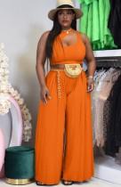 Conjunto de pantalones sueltos y top corto sin mangas naranja casual de verano