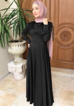 Árabe Dubai Árabe Oriente Medio Turquía Marruecos Ropa islámica Kaftan Abayas Vestido musulmán Negro