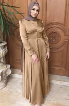 Árabe Dubai Árabe Oriente Medio Turquía Marruecos Ropa islámica Kaftan Abayas Vestido musulmán Caqui