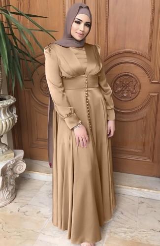 Árabe Dubai Árabe Médio Oriente Turquia Marrocos Vestuário islâmico Kaftan Abayas Vestido muçulmano caqui