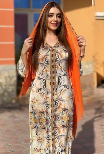 Arap Dubai Arap Ortadoğu Türkiye Fas İslami Giyim Baskı Kaftan Abaya Başörtüsü ile İşlemeli Müslüman Elbise