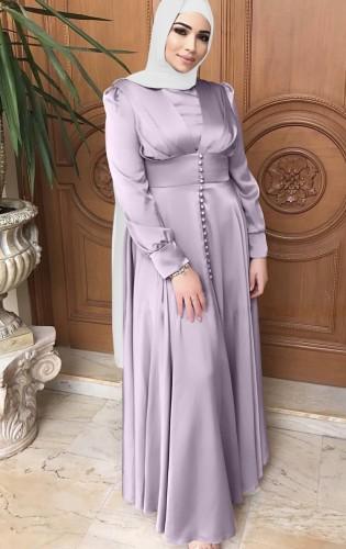 Árabe Dubai Árabe Médio Oriente Turquia Marrocos Roupa islâmica Kaftan Abayas Vestido muçulmano roxo
