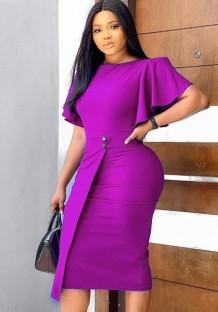 Осеннее профессиональное фиолетовое платье-карандаш с рюшами и рукавами
