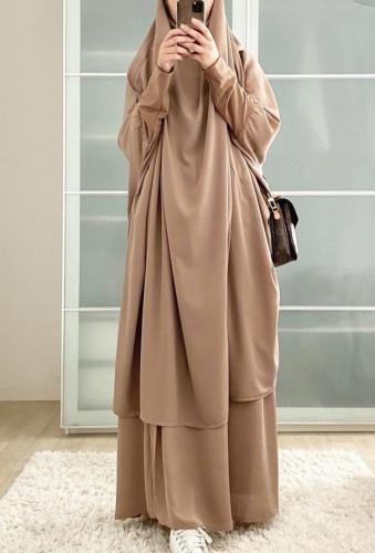 Árabe Dubai Árabe Médio Oriente Turquia Marrocos Vestuário islâmico Kaftan Abaya Vestido muçulmano de duas peças