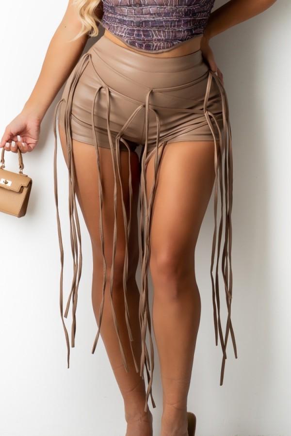 Pantaloncini da festa con stringhe in pelle kaki formali estivi
