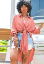 Camicetta lunga annodata rosa casual autunnale con maniche lunghe