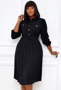 ベルト付き秋のプロフェッショナルブラックプリーツオフィスドレス