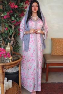Арабский Дубай Арабский Ближний Восток Турция Марокко Исламская одежда Цветочный кафтан Мусульманское платье с вышивкой Абая