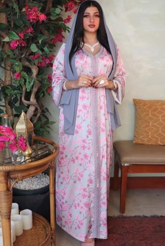 Arap Dubai Arap Ortadoğu Türkiye Fas İslami Giyim Çiçekli Kaftan Abaya İşlemeli Müslüman Elbisesi
