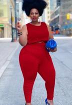 Conjunto de pantalones y top corto sin mangas rojo casual de verano de talla grande