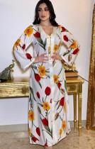 Arab Dubai Arabo Medio Oriente Turchia Marocco Abbigliamento islamico Floreale Caftano Abaya Abito musulmano ricamato