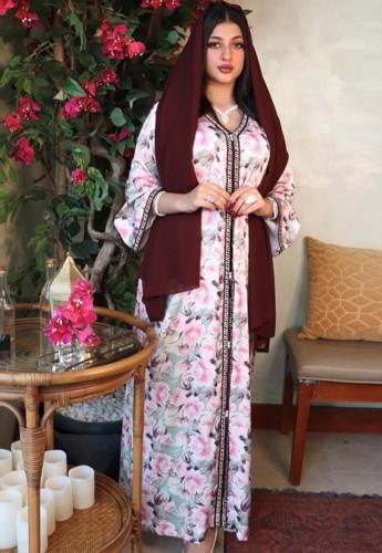 Arap Dubai Arap Ortadoğu Türkiye Fas İslami Giyim Baskı Kaftan Abaya İşlemeli Müslüman Elbise