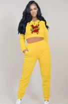 Autumn Sports Crop Top y pantalón con estampado amarillo Traje deportivo