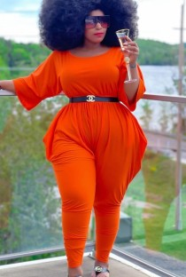 Autumn Plus Size Casual Orange Jumpsuit with 3/4 Sleeves