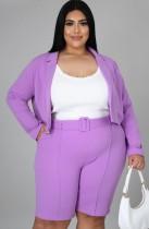 Traje de oficina de chaqueta y pantalones cortos púrpura profesional de talla grande de otoño con cinturón