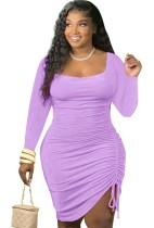 Herfst casual paarse bodycon-jurk met lange mouwen en ruches