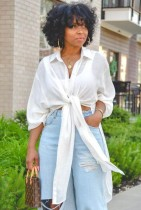 Camicetta lunga annodata bianca casual autunnale con maniche lunghe
