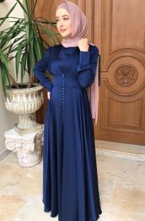 Арабский Дубай Арабский Ближний Восток Турция Марокко Исламская одежда Кафтан Абая мусульманское платье Синий