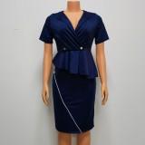 Vestido midi oficial con peplum azul de verano