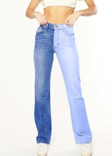 Herbstfarbene Regular Jeans mit Block-Patch und hoher Taille
