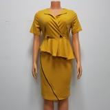 Vestido midi oficial con peplum amarillo de verano