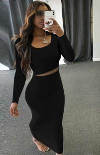 Autumn Casual Black Long Sleeve Crop Top and Pencil Skirt Set