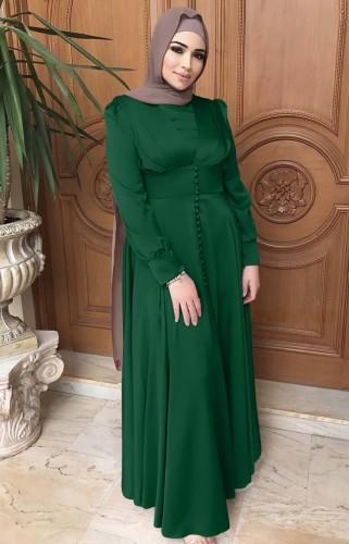 Árabe Dubai Árabe Médio Oriente Turquia Marrocos Vestuário islâmico Kaftan Abayas Vestido muçulmano verde