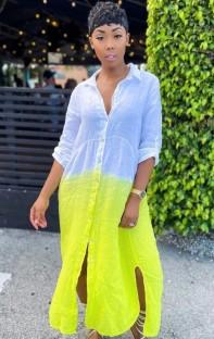 Sonbahar Degrade Uzun Kol Yırtmaçlı Uzun Bluz Sundress
