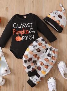 Set di pantaloni 3 pezzi zucca autunno neonato