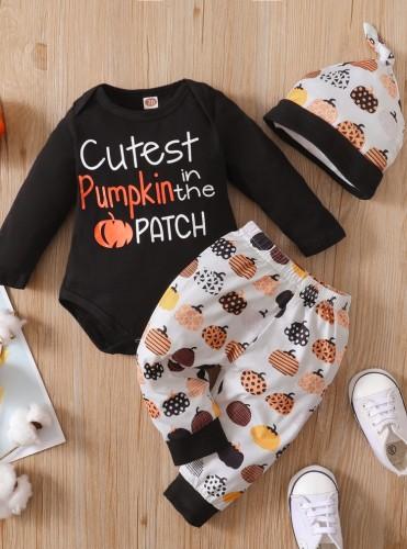 Ensemble de pantalons 3 pièces citrouille d'automne pour bébé garçon