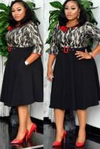 Herbst Plus Size Mutter der Braut Skater Kleid Professionelles Bürokleid mit Gürtel