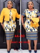 Conjunto de vestido de duas peças outono plus size Mãe da Noiva Vestido profissional de escritório